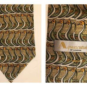 Aquascutum Of London Silk Tie Aqua Series Made USA